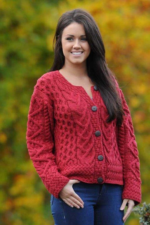 Corrib Cropped Aran Ladies Cardigan (2 colors)