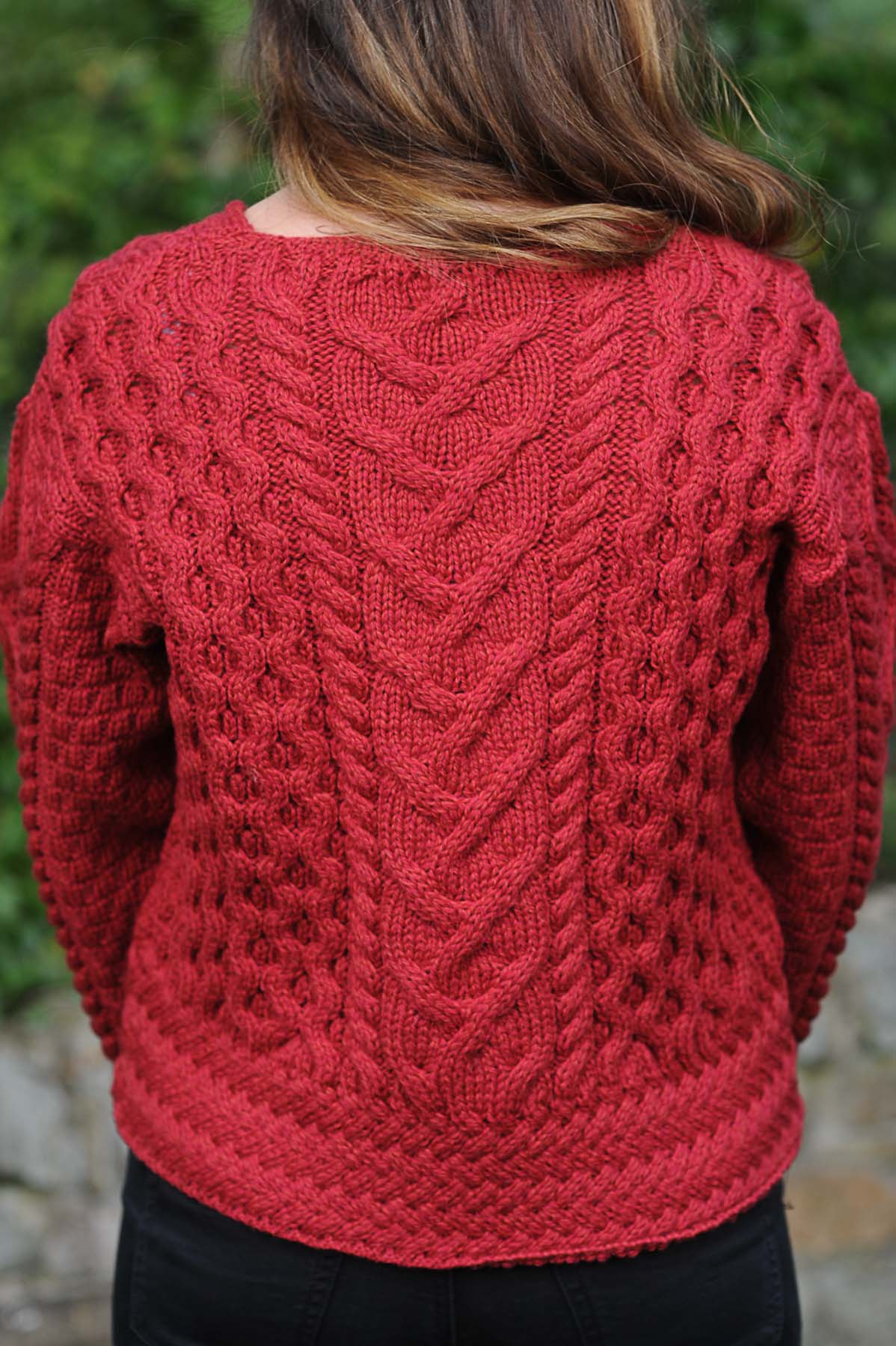 Corrib Ladies Aran Sweater Cranberry
