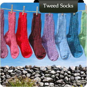 Traditional Irish wool socks in Donegal tweed colours